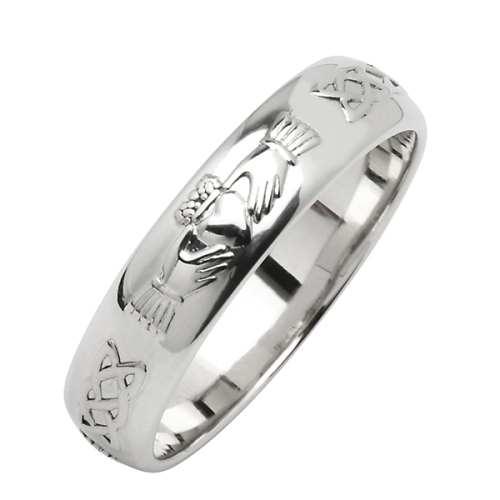 White Gold Wedding Ring Corrib Claddagh 18 Karat Narrow Irish Rings