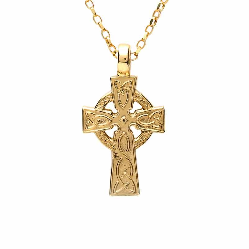 Irish Gold Celtic Cross Medium Celtic Cross Irish Made Fado