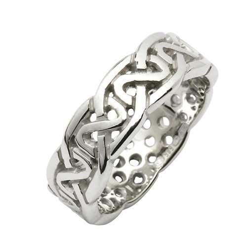 White Gold Wedding Ring Celtic Knots 18 Karat Medium Pierced Irish Rings