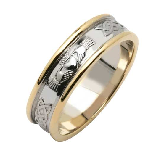 Irish Two Tone Claddagh Wedding Ring Claddagh Corrib Fado Jewelry