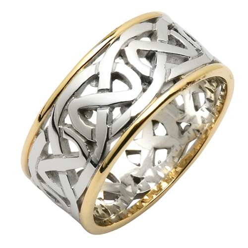 Irish Two Tone Wedding Ring   Celtic Knots Wedding Rings