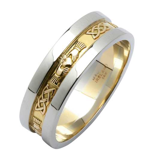 irish two tone wedding ring claddagh corrib wedding rings - Two Tone Wedding Rings
