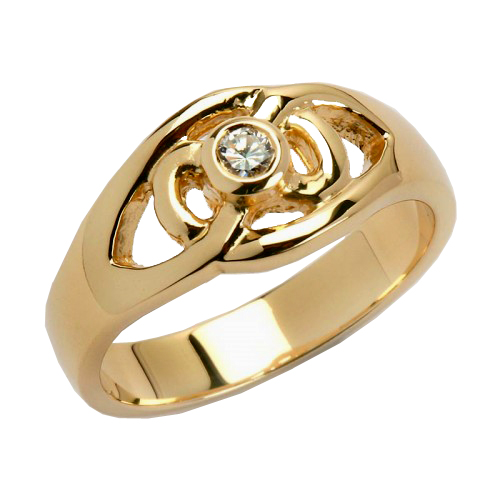 gold stone with celtic contemporary cz silver rings and white ring knot trinity
