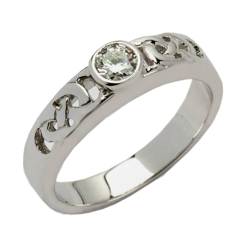 White Gold Celtic Knot Diamond Solitaire   14K Gold Irish Wedding Rings