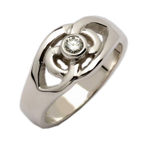 White Gold Celtic Knot Ring With Diamond 14k Jewelry