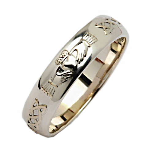 irish silver wedding ring corrib claddagh narrow irish wedding rings - Silver Wedding Ring
