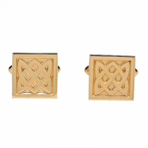Irish Gold Cufflinks - An Ri (The King) - Celtic Knots An Rí Collection