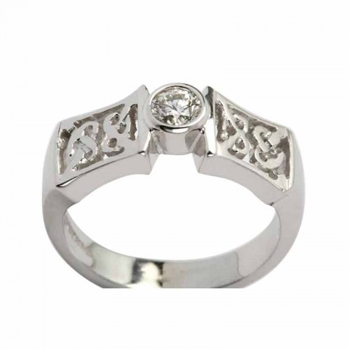 White Gold Celtic Knot Ring with Diamond  Irish Wedding Rings