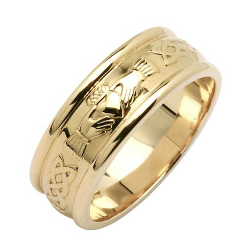 Irish Gold Wedding Ring -Corrib Claddagh - Wide Irish Wedding Rings