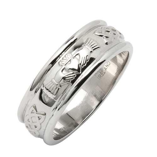 Irish Silver Wedding Ring - Corrib Claddagh Wide Irish Wedding Rings