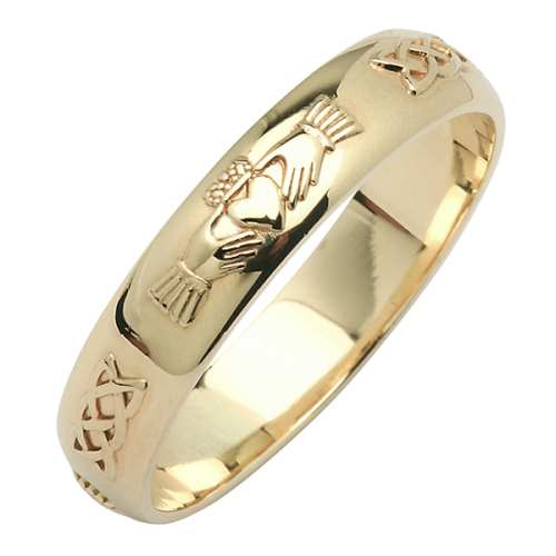 Irish Gold Wedding Ring - Corrib Claddagh - 14 Karat - Narrow Corrib Claddagh Collection