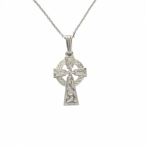 Irish White Gold Celtic Cross Celtic Cross Pendant Small Cross