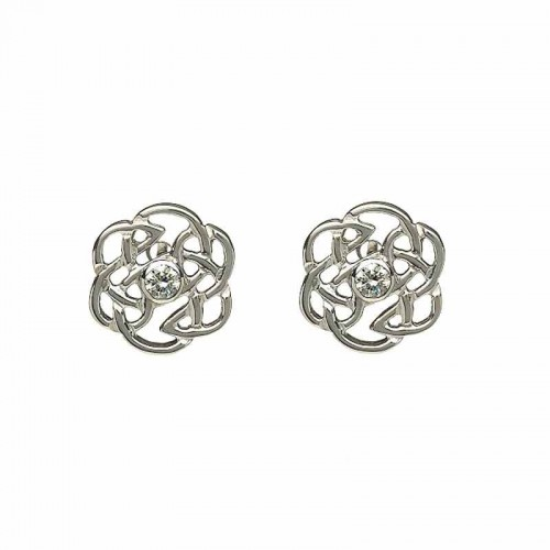 Irish White Gold Diamond Stud Earrings - Celtic Rose Diamond Jewelry