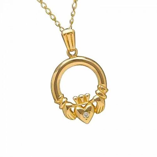 Irish gold diamond pendant claddagh diamond necklace fado jewelry irish gold diamond pendant claddagh mo chroi diamond jewelry aloadofball Image collections