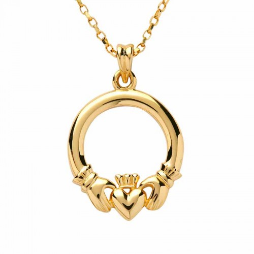 Irish Gold Claddagh Pendant Claddagh Necklace Fado Jewelry