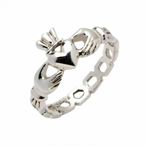 White Gold Claddagh Ring - Mask Claddagh Rings