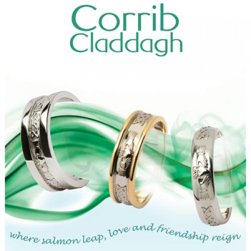 Silver Wedding Ring Claddagh Corrib Wide Fado Jewelry