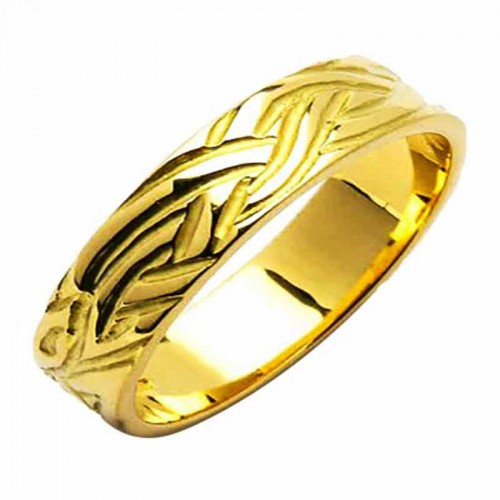 Irish Gold Wedding Ring - Livia - 18K Gold - Medium Flat Irish Wedding Rings