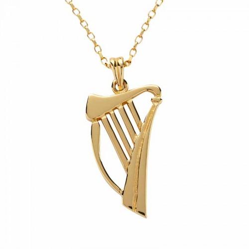 Irish harp pendant harp necklace gold harp fado irish gold harp pendant earrings pendants aloadofball Gallery
