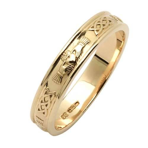 Irish Wedding Ring - Corrib Claddagh - Narrow Rim Irish Wedding Rings