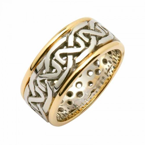 irish silver and gold wedding ring celtic knots silver with gold trim irish wedding - Celtic Wedding Ring