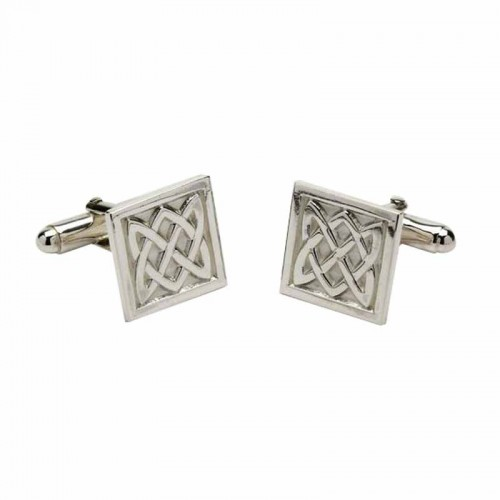 Irish White Gold Cufflinks - An Ri (The King) - Celtic Knots An Rí Collection