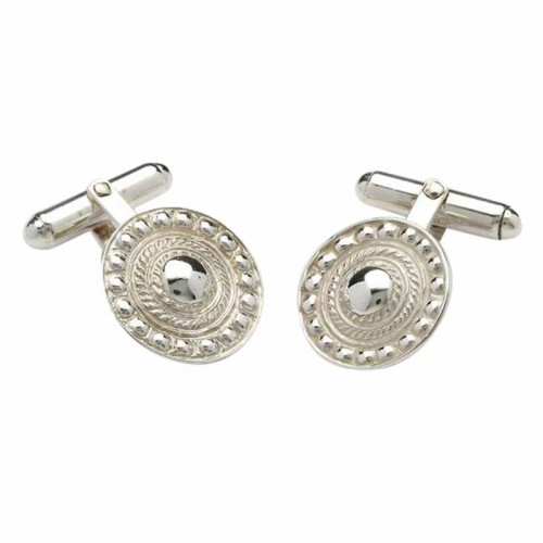 Irish White Gold Shield Cufflinks - An Ri (The King) Collection An Rí Collection