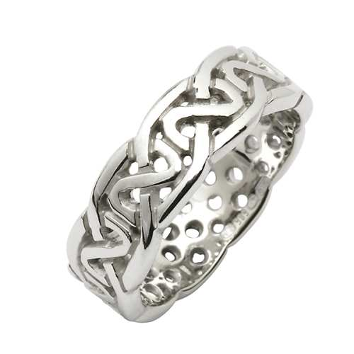 White Gold Wedding Ring - Celtic Knots - 14 Karat - Medium Pierced Irish Wedding Rings