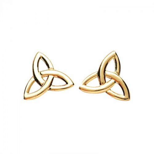 Irish Gold Stud Earrings Trinity Knots Pendants