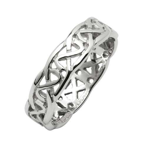 White Gold Wedding Ring - Trinity Knots - 10 Karat - Narrow Irish Wedding Rings