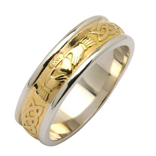 Irish Two Tone Wedding Ring - Corrib Claddagh - 14 Karat Irish Wedding Rings