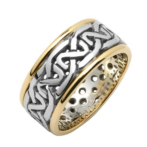 Irish Silver and Gold Wedding Ring - Celtic Knots  - Silver with Gold Trim Irish Wedding Rings