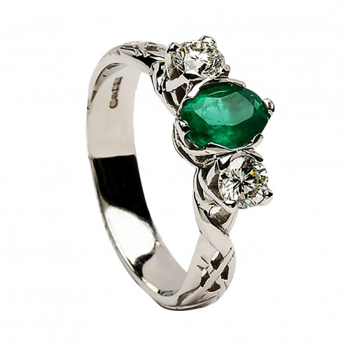 Emerald & Diamond White Gold Celtic Ring - 18K Gold Livia Jewelry Collection