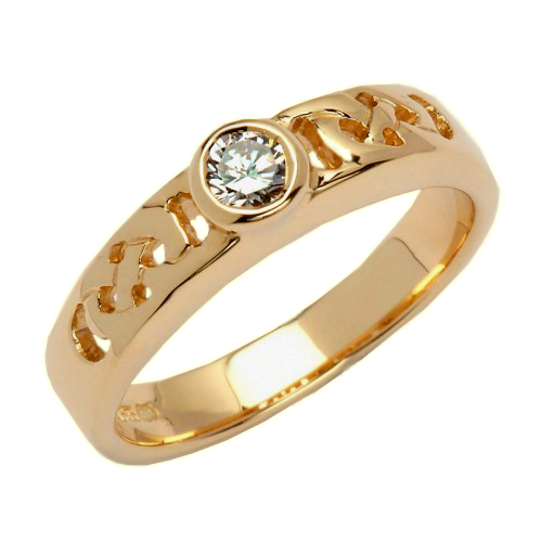 Gold Celtic Knot Ring with Diamond - 14K Gold Irish Wedding Rings