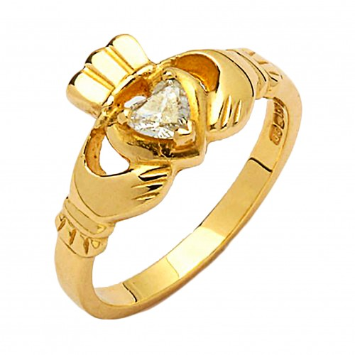Gold Claddagh Ring with Diamond - Cashel - 14K Gold Diamond Jewelry