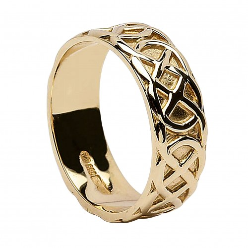 Lovely Irish Wedding Ring   Celtic Knots   14 Karat Gold   Wide Irish Wedding Rings