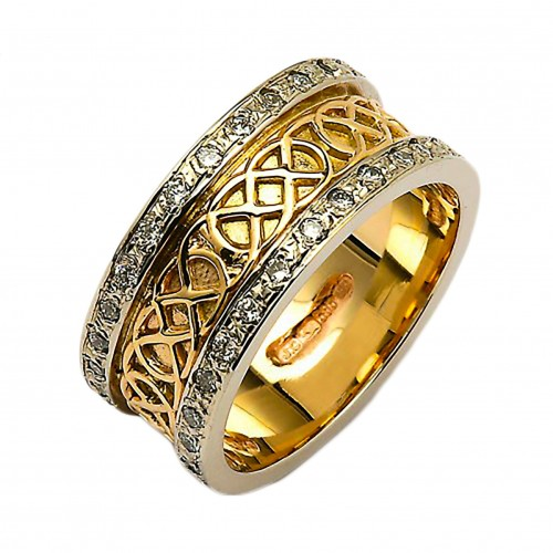 Gold & Diamond Celtic Knot Ring - 14K Gold Irish Wedding Rings