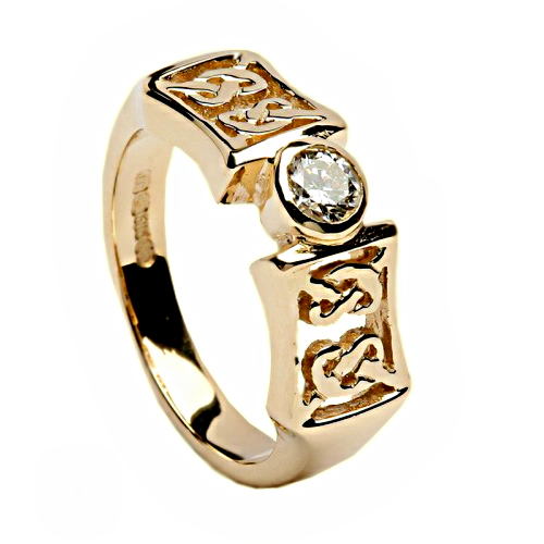 Irish Gold and Diamond Ring Celtic Knots - 14K Gold Irish Wedding Rings
