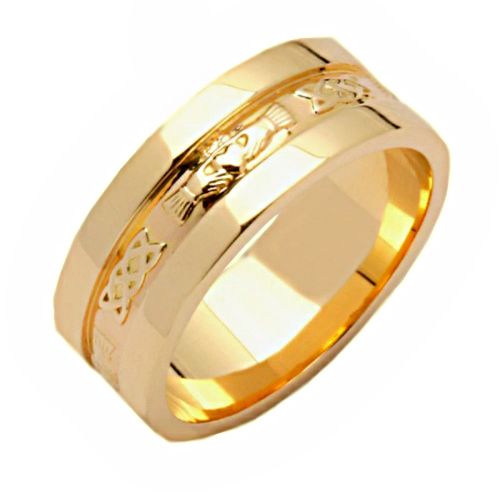 Irish Wedding Ring - Corrib Claddagh Wide Edge - 18 Karat Irish Wedding Rings