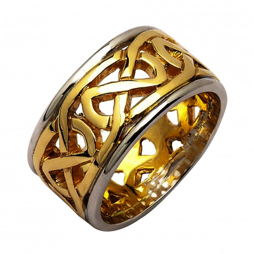 Irish Two Tone Wedding Ring - Celtic Knots - 14 Karat - Heavy Irish Wedding Rings