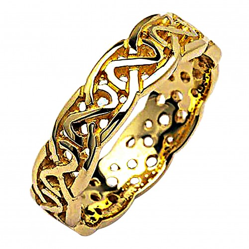 Irish Wedding Ring - Celtic Knots - 18 Karat Gold - Medium Pierced Irish Wedding Rings