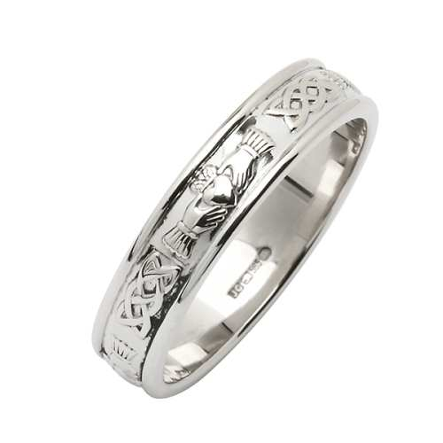 Platinum Wedding Ring - Corrib Claddagh - Narrow Rim Irish Wedding Rings
