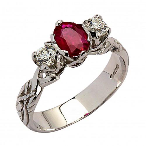 Ruby Diamond White Gold Celtic Ring 18K Gold