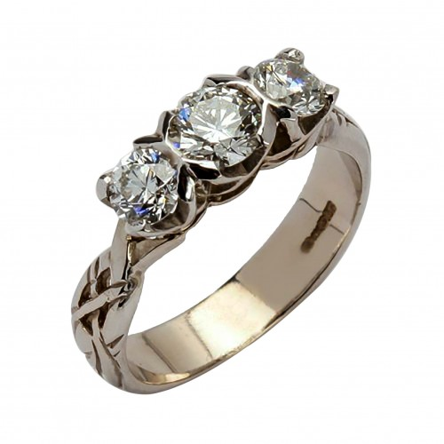 White Gold 3 Diamond Ring with Celtic Knots 18K Gold