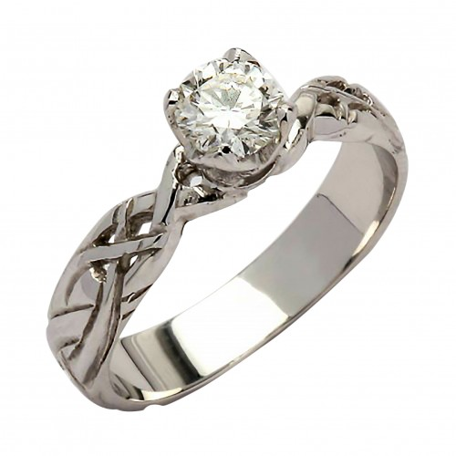 White Gold Diamond Ring 0.33 Ct with Celtic Knots - 18K Gold Livia Jewelry Collection