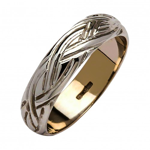 White Gold Wedding Ring - Livia - 18K Gold - Medium Dome Irish Wedding Rings