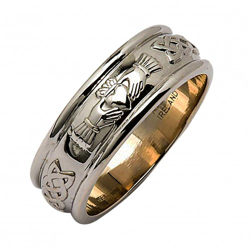 new platinum wedding ring corrib claddagh wide irish wedding rings - Irish Wedding Rings