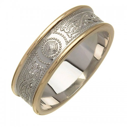 Irish Silver and Gold Wedding Ring - An Rí  - Silver with14K Trim Irish Wedding Rings