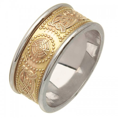 Irish Two Tone Wedding Ring - An Rí (The King) - Medium - 14 Karat Irish Wedding Rings