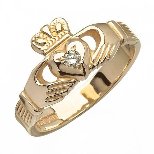 Gold Claddagh Ring with Diamond - Blarney - 14K Gold Diamond Jewelry